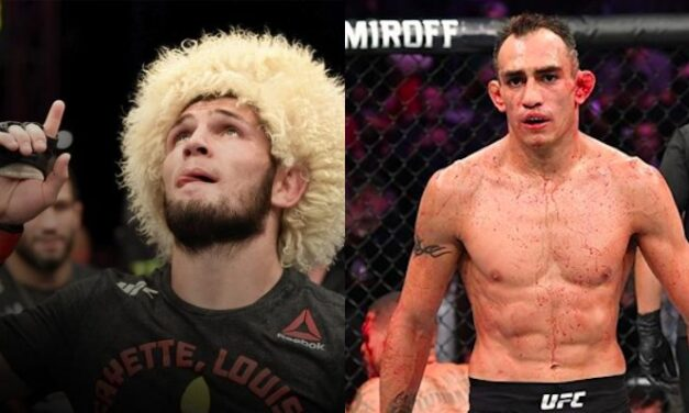 """Khabib Nurmagomedov predicted Tony Ferguson was """"finished"""" prior to being dominated by Charles Oliveira at UFC 256"""